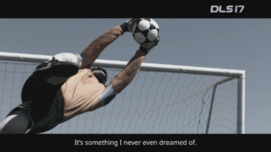 Man diving in Dream League soccer World Cup TV commercial production